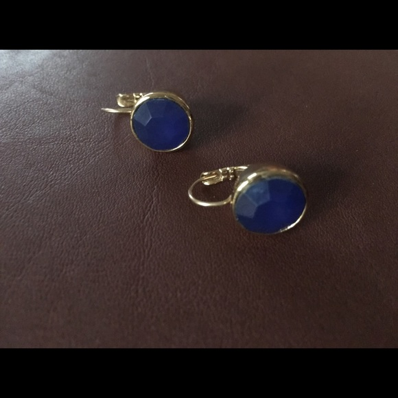 kate spade Jewelry - kate spade faceted blue stone lever back earrings